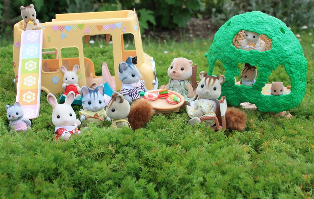 Sylvanians on a camomile lawn
